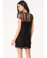 Bebe - Black Noami Macrame Lace Dress - Lyst