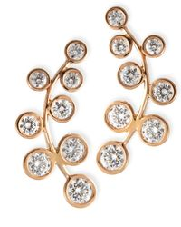 Rina Limor | Pink 18k Rose Gold & Diamond Climber Earrings | Lyst