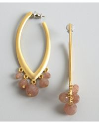David Aubrey - Metallic Gold and Pink Jade Drop Hoop Earrings - Lyst