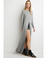 Forever 21 | Gray Contemporary Split-front Longline Tunic | Lyst