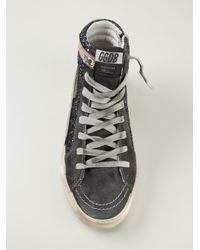 Golden Goose Deluxe Brand - Blue 'slide' Hi-top Sneakers - Lyst