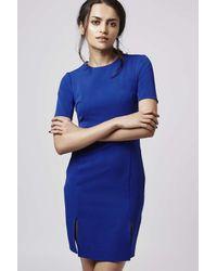 TOPSHOP | Blue Petite Split-front Dress | Lyst