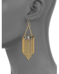 Alexis Bittar | Metallic Elements Prophecy Crystal & Pyrite Doublet Chain Fringe Earrings | Lyst