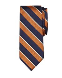 Brooks Brothers | Orange Mixed Weave Sidewheeler Stripe Tie for Men | Lyst