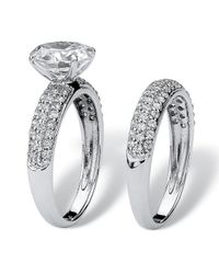 Palmbeach Jewelry - 2 Piece 3.28 Tcw Pave Cubic Zirconia Bridal Ring Set In 10k White Gold - Lyst