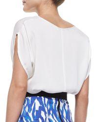 MILLY - White Stretch-silk Dolman-sleeve Top - Lyst