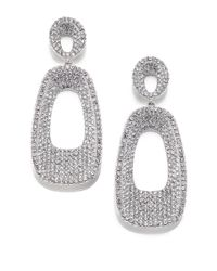 Adriana Orsini | Metallic Pave Crystal Concave Rectangle Drop Earrings | Lyst