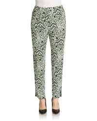 French Connection - Green Leopard Moth Gathered Trousers - Lyst