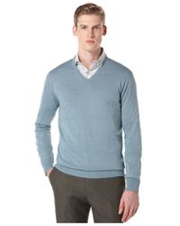 Perry Ellis | Blue Long-sleeve Solid V-neck Sweater for Men | Lyst