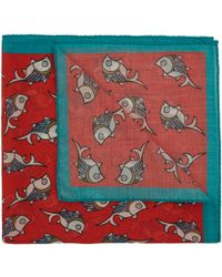 Drake's - Red Fish Print Cotton Handkerchief for Men - Lyst