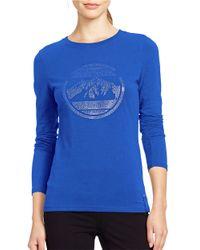 Lauren by Ralph Lauren - Blue Logo Stretch-jersey Tee - Lyst