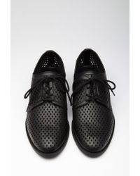 Forever 21 - Black Perforated Faux Leather Oxfords - Lyst