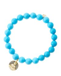 Sydney Evan - Blue 8mm Turquoise Beaded Bracelet With 14k Gold/diamond Sitting Buddha Charm (made To Order) - Lyst