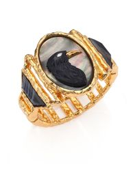 Alexis Bittar | Metallic Elements Punk Black Agate, Black Mother-of-pearl & Crystal Raven Cameo Bracelet | Lyst