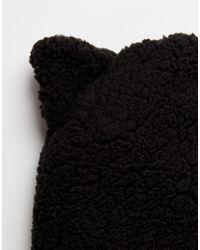 Monki - Black Winter Hat With Ears - Lyst