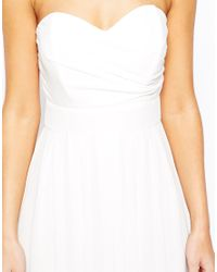 TFNC London - White Maxi Dress In Pleated Chiffon - Lyst