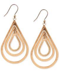 Lucky Brand - Metallic Gold-tone Orbital Teardrop Earrings - Lyst