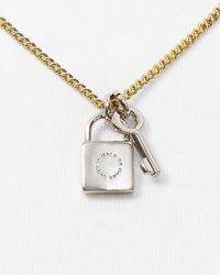 Marc By Marc Jacobs | Metallic Lock & Key Pendant Necklace, 17"