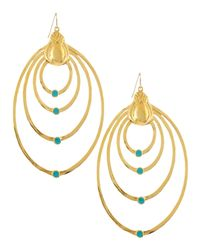 Devon Leigh | Metallic 18k Gold Plate Teardrop Earrings With Turquoise | Lyst