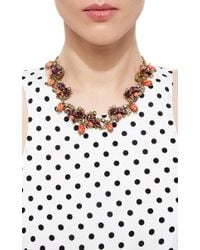 Carole Tanenbaum | Multicolor 1950S Unsigned Burnished Gold Necklace With Rhinestones And Glass Coral Drops | Lyst