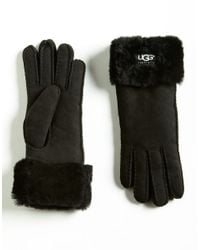 UGG | Black Ladies Fur Turn Cuff Gloves | Lyst