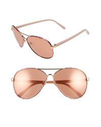 Diane von Furstenberg | Pink 'sental' 62mm Aviator Sunglasses | Lyst