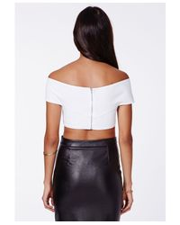 Missguided - Dulari Bardot Crossover Crop Top White - Lyst
