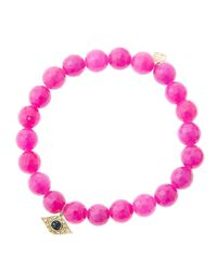 Sydney Evan - Purple 8Mm Faceted Fuchsia Agate Beaded Bracelet With 14K White Gold/Diamond Love Charm (Made To Order) - Lyst