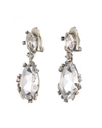 Alexis Bittar - Metallic Double Drop Clear Quartz And Grey Diamond Clip Earring - Lyst