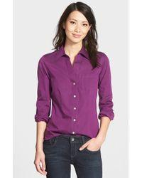 Foxcroft - Purple 'christine' No-iron Cotton Shirt - Lyst