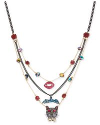 Betsey Johnson | Metallic Two-tone Layer Beaded Pendant Necklace | Lyst
