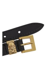 Alexander McQueen - Black Crystal Skull Embellished Leather Cuff - Lyst