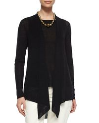 Eileen Fisher - Black Long Angled Linen-blend Cardigan - Lyst