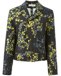 Marni - Black Boxy Floral-Print Jacket  - Lyst