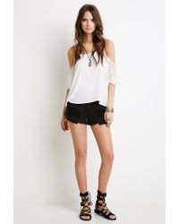 Forever 21 - Black Crochet Daisy-paneled Cutoffs - Lyst