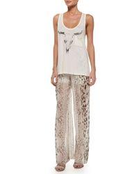 Haute Hippie - Multicolor High-waist Snake-print Wide-leg Pants - Lyst