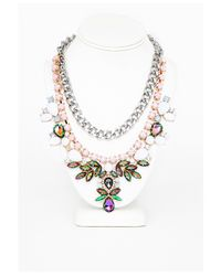 Missguided | Multicolor Zoha Embellished Double Layer Necklace Multi | Lyst