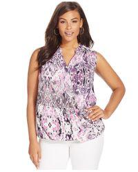 INC International Concepts - Multicolor Plus Size Snakeskin-print Faux-wrap Top - Lyst