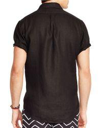 Polo Ralph Lauren | Black Short-sleeved Linen Shirt for Men | Lyst