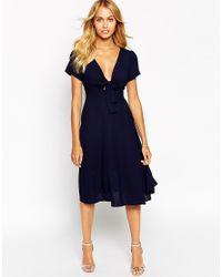 Love - Blue Bow Front Midi Dress - Lyst