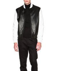 Calvin Klein - Black Men's Iseo Two Tone Leather Plonge Bomber - Lyst
