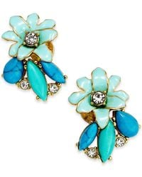 kate spade new york | Blue 14K Gold-Plated Glossy Petals Cluster Stud Earrings | Lyst