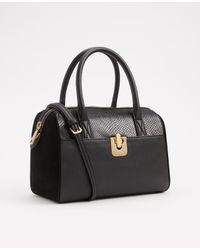 Ann Taylor | Black Turnlock Satchel | Lyst