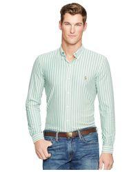 Polo Ralph Lauren | Green Striped Knit Oxford Shirt for Men | Lyst