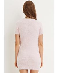 Forever 21 | Pink Fuzzy Knit Sweater Dress | Lyst