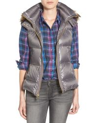 Vince Camuto | Metallic Hooded Down Vest With Detachable Faux Fur Trim | Lyst