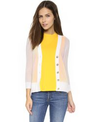 Tory Burch | Shrunken Simone Cardigan - White | Lyst