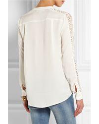 MICHAEL Michael Kors - White Lace-Paneled Silk-Crepe Blouse - Lyst