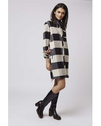 TOPSHOP - Black Tall Oversized Check Shirtdress - Lyst
