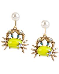 Betsey Johnson - Yellow Gold-Tone Embellished Crab Drop Earrings - Lyst